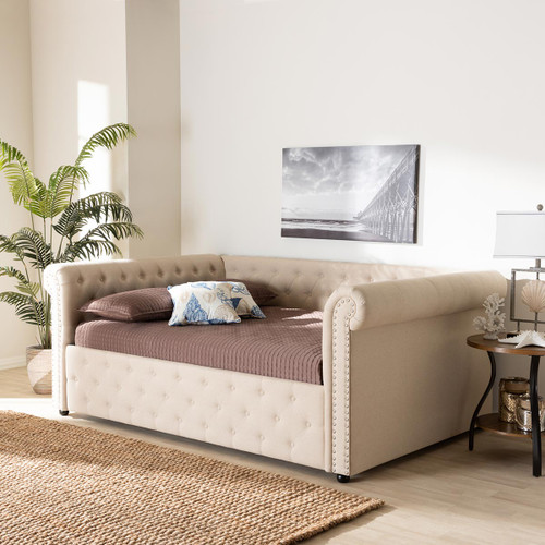 Baxton Studio Mabelle Modern and Contemporary Beige Fabric Upholstered Queen Size Daybed