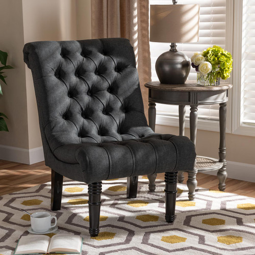 Baxton Studio Barthe Classic and Traditional Gray Fabric Upholstered Accent Chair with Rolled Back