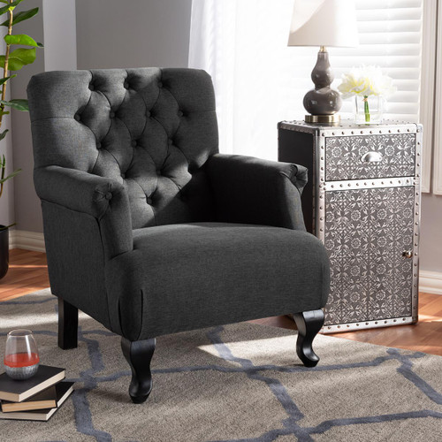 Baxton Studio Belan Classic and Traditional Gray Fabric Upholstered Button Tufted Armchair