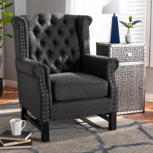 Baxton Studio Charrette Transitional Gray Fabric Upholstered Button Tufted Armchair