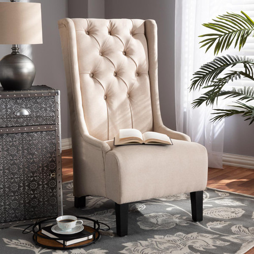 Baxton Studio Dorais Transitional Beige Fabric Upholstered Accent Chair