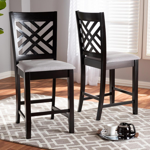 Baxton Studio Caron Modern and Contemporary Gray Fabric Upholstered Espresso Brown Finished Wood Counter Height Pub Chair Set of 2