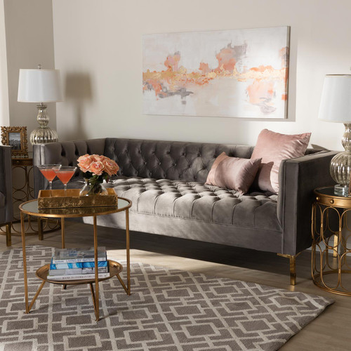 Baxton Studio Zanetta Glam and Luxe Gray Velvet Upholstered Gold Finished Sofa