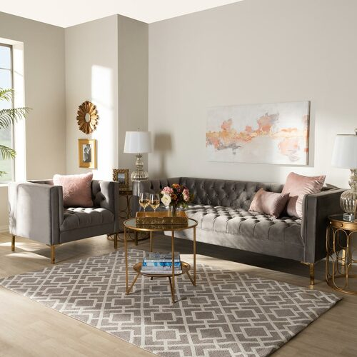 Baxton Studio Zanetta Glam and Luxe Gray Velvet Upholstered Gold Finished 2-Piece Sofa and Lounge Chair Set