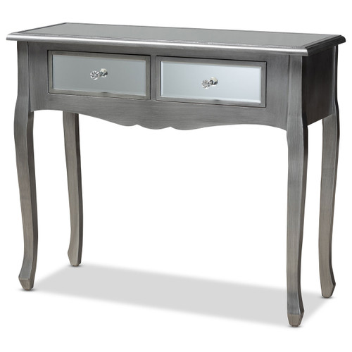 Baxton Studio Leonie Modern Transitional French Brushed Silver Finished Wood and Mirrored Glass 2-Drawer Console Table