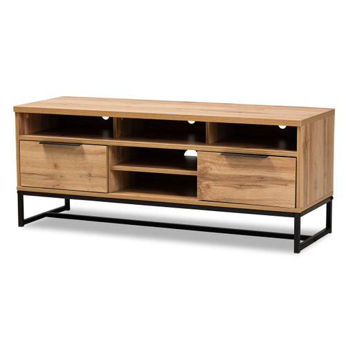 Baxton Studio Reid Modern and Contemporary Industrial Oak Finished Wood and Black Metal 2-Drawer TV Stand