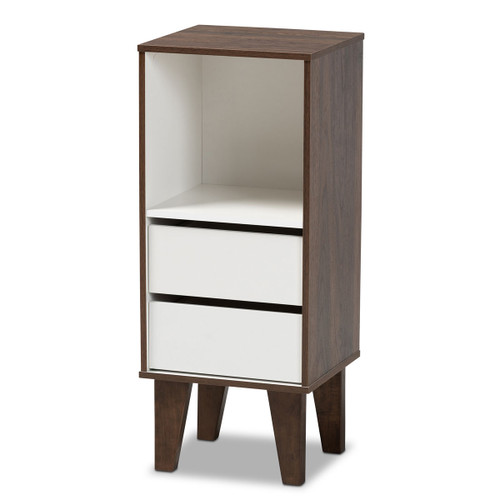 Baxton Studio Senja Modern and Contemporary Two-Tone White and Walnut Brown Finished Wood 2-Drawer Bookcase