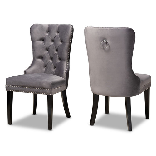 Baxton Studio Remy Modern Transitional Grey Velvet Fabric Upholstered Espresso Finished 2-Piece Wood Dining Chair Set