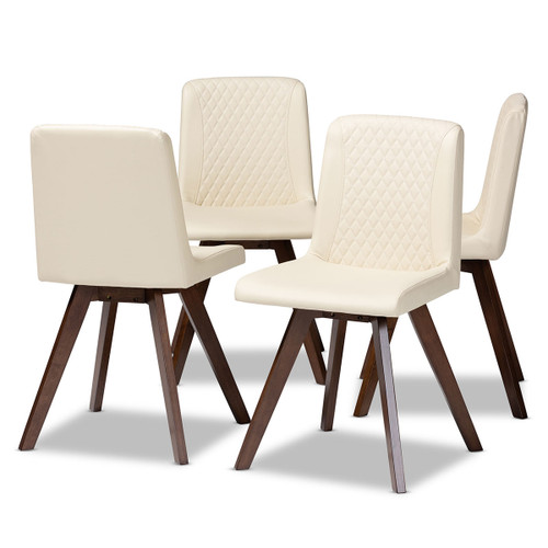 Baxton Studio Pernille Modern Transitional Cream Faux Leather Upholstered Walnut Finished 4-Piece Wood Dining Chair Set