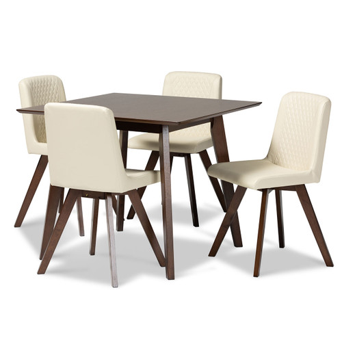 Baxton Studio Pernille Modern Transitional Cream Faux Leather Upholstered Walnut Finished Wood 5-Piece Dining Set