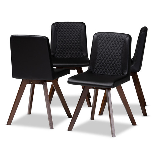 Baxton Studio Pernille Modern Transitional Black Faux Leather Upholstered Walnut Finished 4-Piece Wood Dining Chair Set