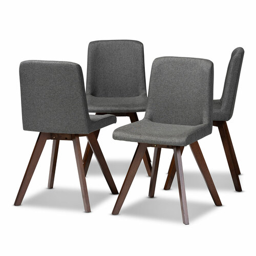 Baxton Studio Pernille Modern Transitional Grey Fabric Upholstered Walnut Finished 4-Piece Wood Dining Chair Set