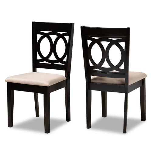 Baxton Studio Lenoir Modern and Contemporary Sand Fabric Upholstered Espresso Brown Finished Wood 2-Piece Dining Chair Set