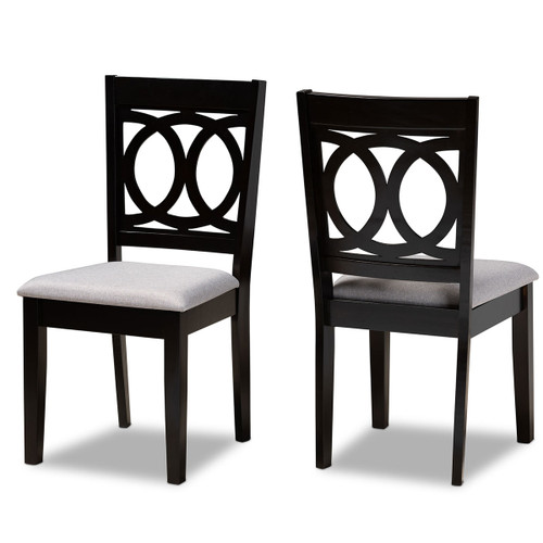 Baxton Studio Lenoir Modern and Contemporary Grey Fabric Upholstered Espresso Brown Finished Wood 2-Piece Dining Chair Set