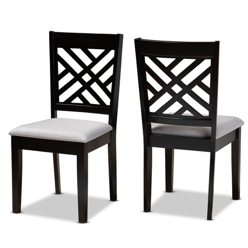 Baxton Studio Caron Modern and Contemporary Grey Fabric Upholstered Espresso Brown Finished Wood 2-Piece Dining Chair Set