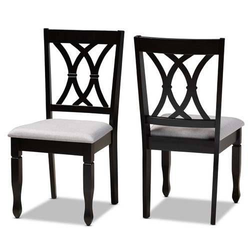 Baxton Studio Reneau Modern and Contemporary Grey Fabric Upholstered Espresso Brown Finished Wood 2-Piece Dining Chair Set