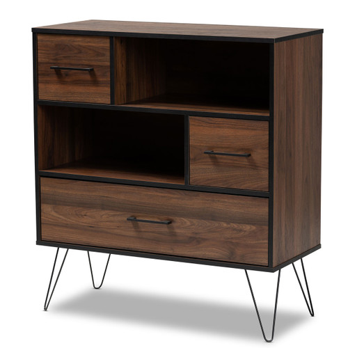 Baxton Studio Charis Modern and Transitional Two-Tone Walnut Brown and Black Finished Wood 1-Drawer Bookcase
