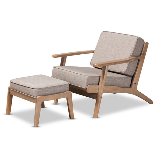 Baxton Studio Sigrid Mid-Century Modern Light Grey Fabric Upholstered Antique Oak Finished 2-Piece Wood Armchair and Ottoman Set