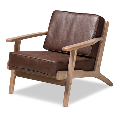 Baxton Studio Sigrid Mid-Century Modern Brown Faux Leather Effect Fabric Upholstered Antique Oak Finished Wood Armchair