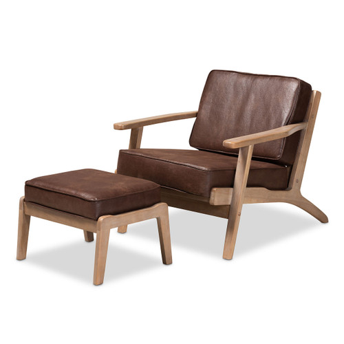 Baxton Studio Sigrid Mid-Century Modern Brown Faux Leather Effect Fabric Upholstered Antique Oak Finished 2-Piece Wood Armchair and Ottoman Set