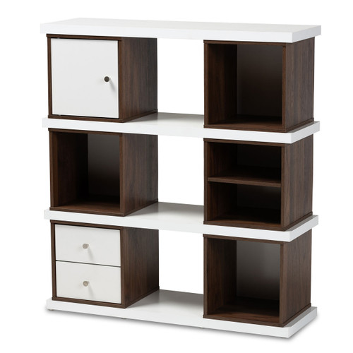 Baxton Studio Rune Modern and Contemporary Two-Tone White and Walnut Brown Finished 2-Drawer Bookcase