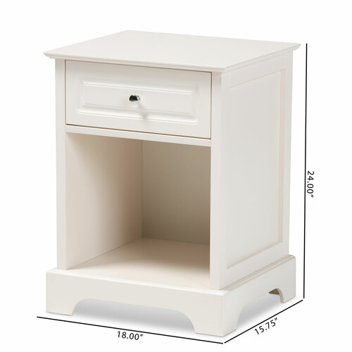 Baxton Studio Chauncey Classic and Traditional White Finished Wood and Glass 2-Door Kitchen Storage Cabinet