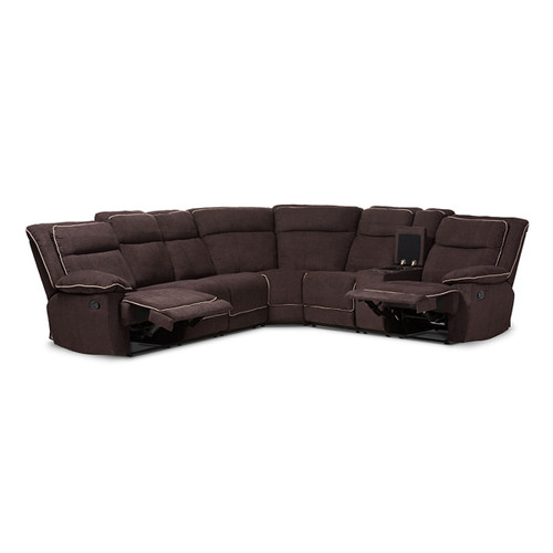 Baxton Studio Sabella Modern and Contemporary Chocolate Brown Fabric Upholstered 7-Piece Reclining Sectional Sofa