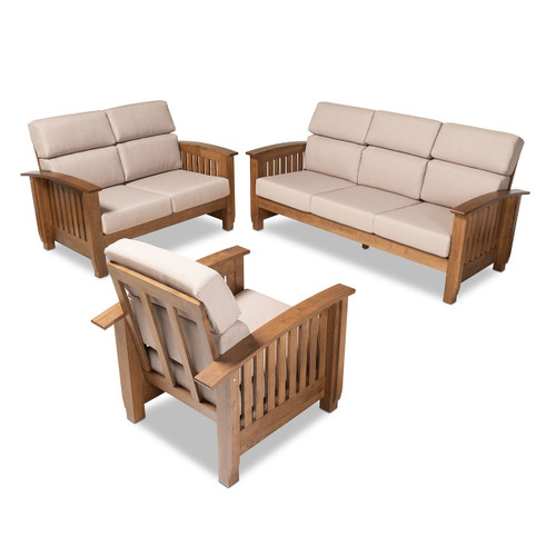 Baxton Studio Charlotte Modern Classic Mission Style Taupe Fabric Upholstered Walnut Brown Finished Wood 3-Piece Living Room Set