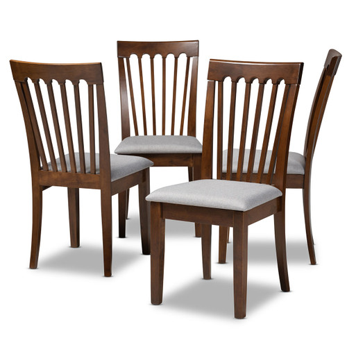 Baxton Studio Minette Modern and Contemporary Grey Fabric Upholstered Walnut Brown Finished Wood Dining Chair Set