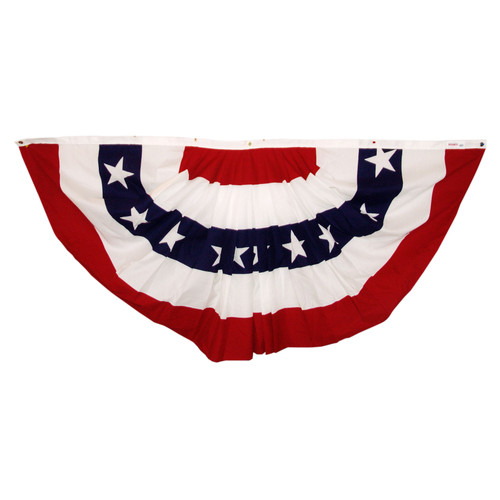 US Stars & Stripes 3ft x 6ft Printed Poly-Cotton Pleated Fan