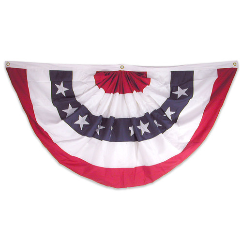 3ft x 6ft USA Sewn Nylon Pleated Fan with Printed Stars
