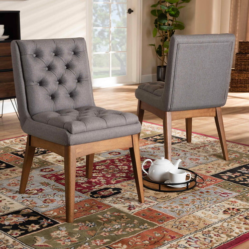 Baxton Studio Makar Modern Transitional Grey Fabric Upholstered and Walnut Brown Finished Wood 2-Piece Dining Chair Set Set
