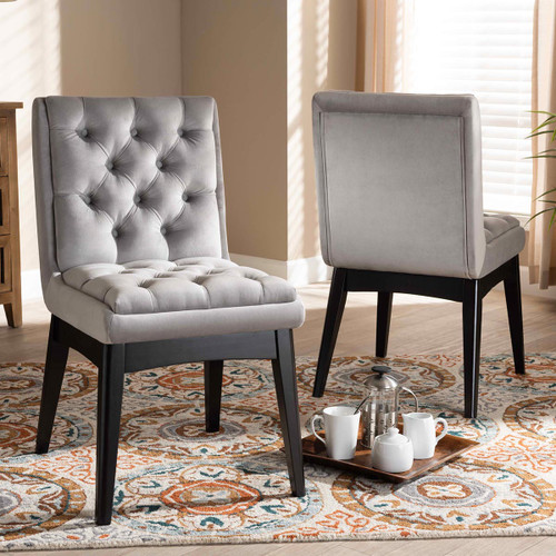 Baxton Studio Makar Modern Transitional Light Grey Fabric Upholstered and Walnut Brown Finished Wood 2-Piece Dining Chair Set Set