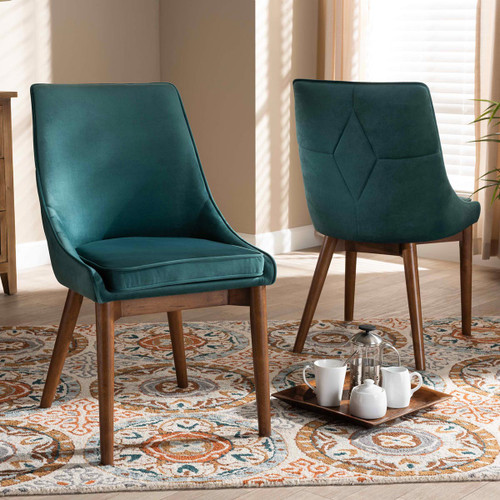 Baxton Studio Gilmore Modern and Contemporary Teal Velvet Fabric Upholstered and Walnut Brown Finished Wood 2-Piece Dining Chair Set Set