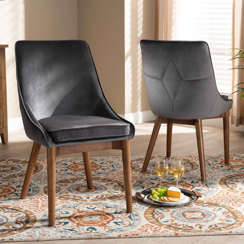 Baxton Studio Gilmore Modern and Contemporary Grey Velvet Fabric Upholstered and Walnut Brown Finished Wood 2-Piece Dining Chair Set Set