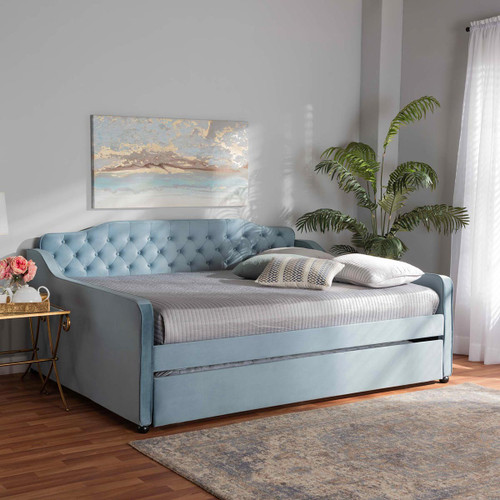 Baxton Studio Freda Transitional and Contemporary Light Blue Velvet Fabric Upholstered and Button Tufted Full Size Daybed with Trundle