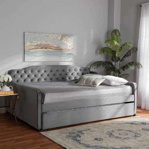 Baxton Studio Freda Transitional and Contemporary Grey Velvet Fabric Upholstered and Button Tufted Queen Size Daybed with Trundle