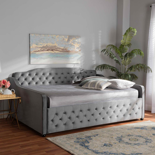 Baxton Studio Freda Transitional and Contemporary Grey Velvet Fabric Upholstered and Button Tufted Full Size Daybed