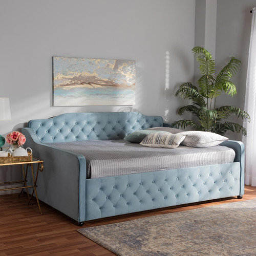 Baxton Studio Freda Transitional and Contemporary Light Blue Velvet Fabric Upholstered and Button Tufted Queen Size Daybed