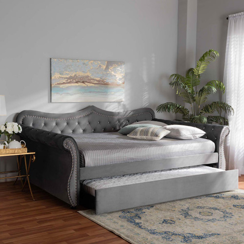Baxton Studio Abbie Traditional and Transitional Grey Velvet Fabric Upholstered and Crystal Tufted Full Size Daybed with Trundle