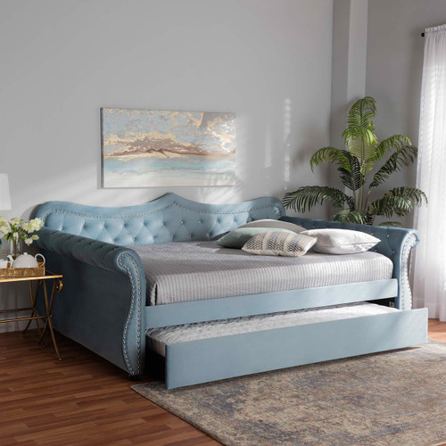 Baxton Studio Abbie Traditional and Transitional Light Blue Velvet Fabric Upholstered and Crystal Tufted Queen Size Daybed with Trundle