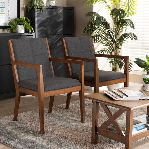 Baxton Studio Theresa Mid-Century Modern  Grey Fabric Upholstered and Walnut Brown Finished Wood Living Room Accent Chair