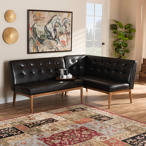 Baxton Studio Arvid Mid-Century Modern  Brown Faux Leather Upholstered 2-Piece Wood Dining Nook Banquette Set