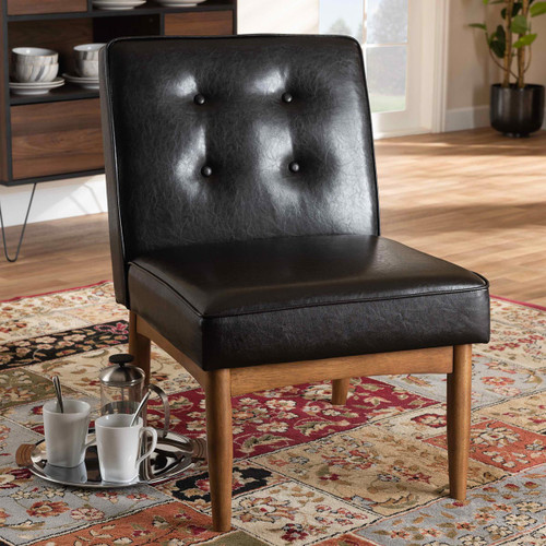 Baxton Studio Arvid Mid-Century Modern  Brown Faux Leather Upholstered Wood Dining Chair