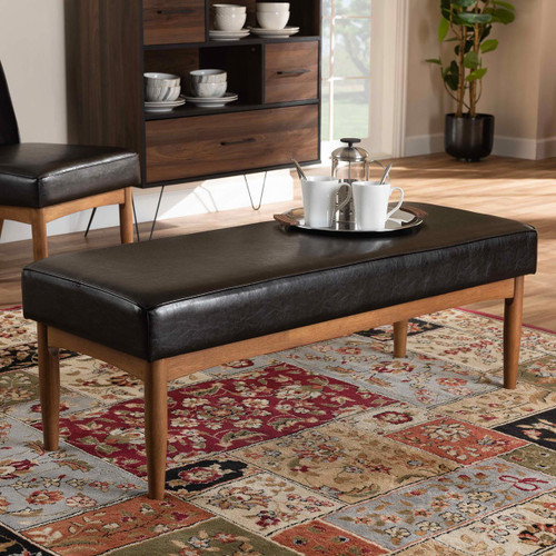 Baxton Studio Arvid Mid-Century Modern  Brown Faux Leather Upholstered Wood Dining Bench
