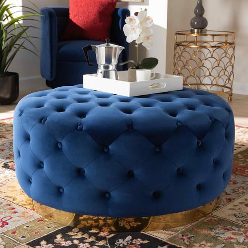 Baxton Studio Sasha Glam and Luxe Royal Blue Velvet Fabric Upholstered Gold Finished Round Cocktail Ottoman