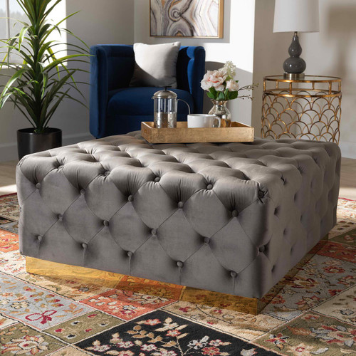 Baxton Studio Verene Glam and Luxe Grey Velvet Fabric Upholstered Gold Finished Square Cocktail Ottoman