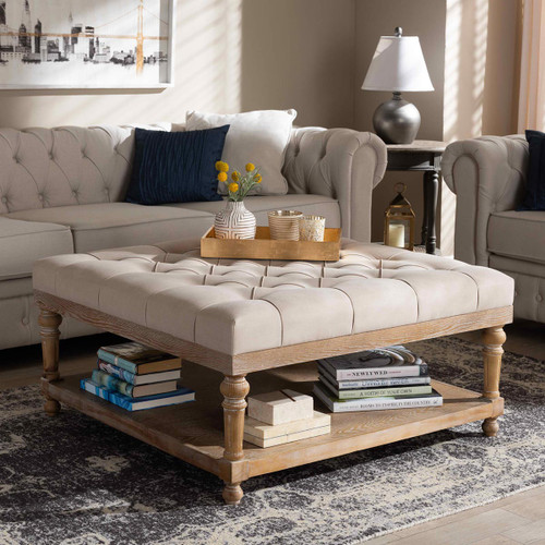 Baxton Studio Kelly Modern and Rustic Beige Linen Fabric Upholstered and Greywashed Wood Cocktail Ottoman
