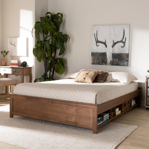 Baxton Studio Anders Traditional and Rustic Ash Walnut Brown Finished Wood Full Size Platform Storage Bed Frame with Built-In Shelves