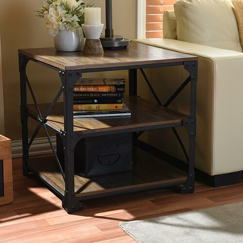 Baxton Studio Milo Vintage Industrial Antique Bronze Metal and Distressed Wood End Table